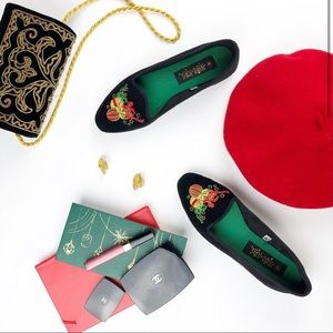 Christmas velvet black loafers holiday shoes